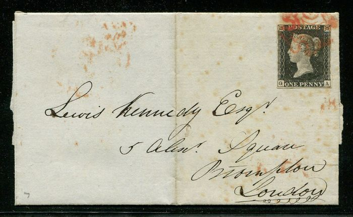Great Britain 1840 - Penny black on complete letter with red Maltese Cross - Stanley Gibbons 2