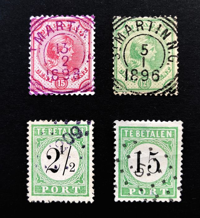 Curaçao 1889/1892 - Four classic stamps with full cancellations - NVPH 20, 21, P1, P5b