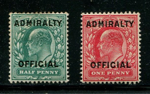 1903 - Halfpenny blue-green & 1 penny red ADMIRALTY OFFICIAL - Stanley Gibbons O107-108