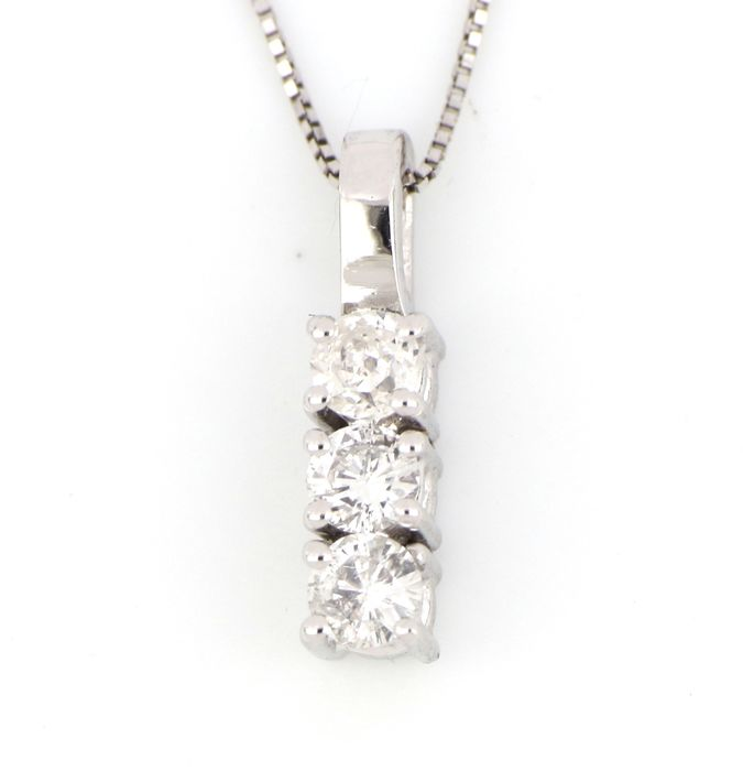 18 kt. White gold - Necklace, Necklace with pendant - 0.27 ct Diamond
