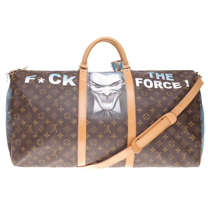 "Louis Vuitton - Keepall 60 en toile enduite Monogram bandoulière customisé ""Joker Vs Batman, F*** the Force "" #77 Weekend bag"