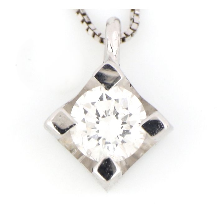 18 kt. White gold - Necklace, Necklace with pendant - 0.15 ct Diamond