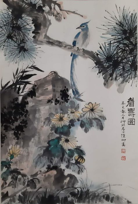 Inktschildering - Rijstpapier - 《陆抑非-花鸟》In style of Lu Yifei - China - 21e eeuw
