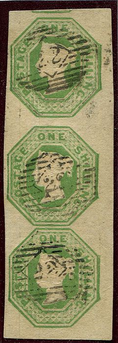 Great Britain - England 1847 - 1 shilling green Embossed vertical STRIP OF 3 - Stanley Gibbons 55