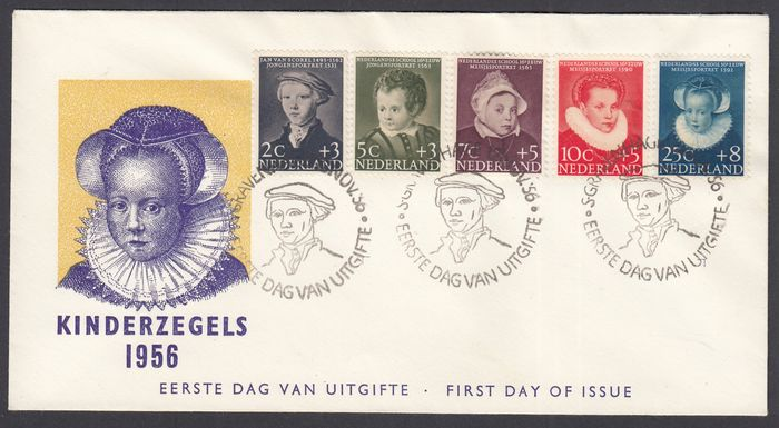 Netherlands 1956 - FDC Children's Aid stamps with varieties - NVPH E28