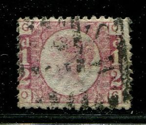 Great Britain - England 1870 - Halfpenny rose-red KEY PLATE 9 - Stanley Gibbons SG48