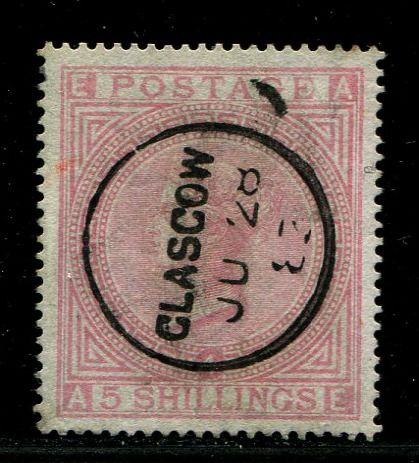 Great Britain 1867 - 5 shilling rose plate 4 watermark anchor - Stanley Gibbons 134