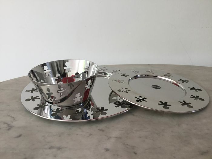Stefano Giovannoni & Guido Venturini (King-Kong) - Alessi - Fruit bowl, Dienblad, Centerpiece - Girotondo Collection - 3 pieces