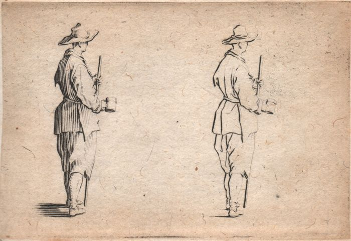 Jacques Callot ( 1592-1632 ) - Print, Les Caprices - A gentleman, his hand on his epee - First state before the number