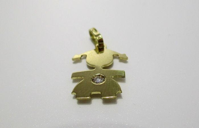 18 kt. Yellow gold - Pendant - 0.04 ct Diamond