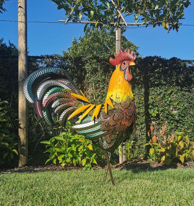 Very large sculpture of a rooster, 85 cm. high - metal - Recent