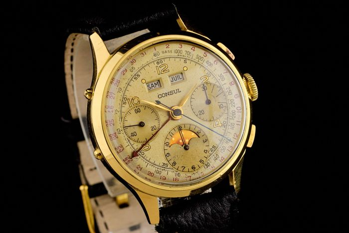 Consul - Vintage 18K Gold Cal 88 Triple Date Moonphase Chronograph Rare! - Homme - 1950-1959