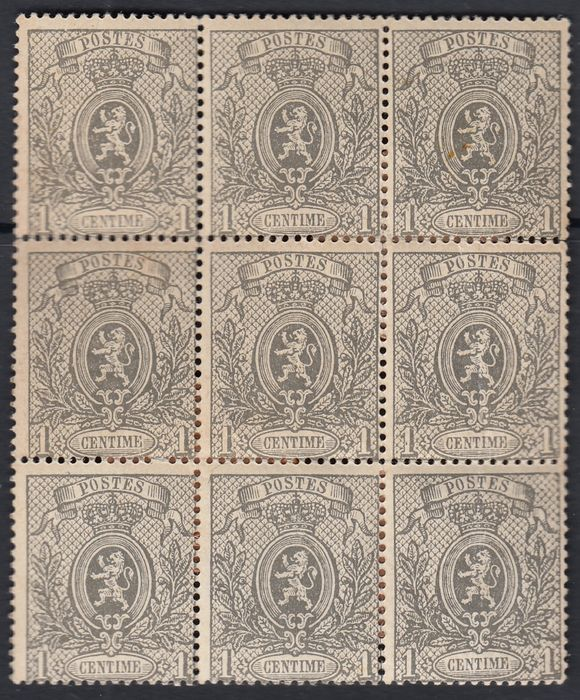 Belgium 1866/1867 - Small Lion with perforation - 1 centime grey in a block of six - OBP / COB 23A