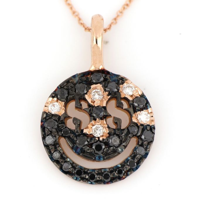 18 kt. Pink gold - Necklace, Necklace with pendant - 0.10 ct Diamond - Diamonds