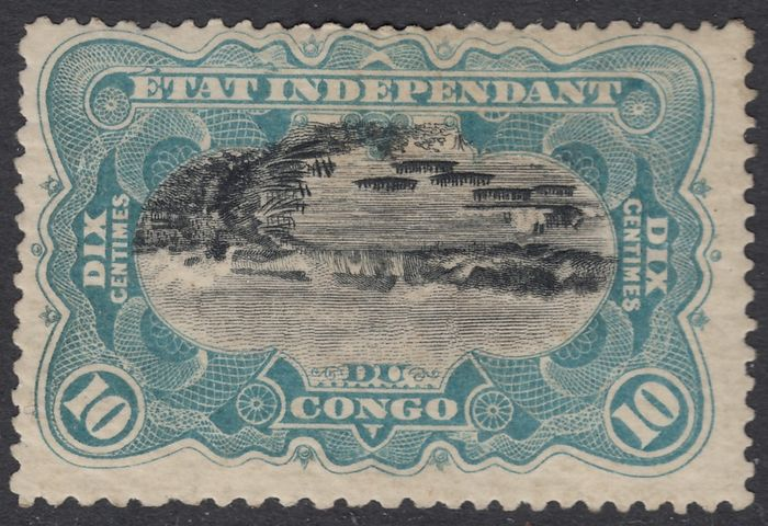 Belgian Congo 1894 - Independent State of Congo - MOLS issue 10c sky blue with INVERTED CENTERPIECE - certificate - OBP / COB 18B
