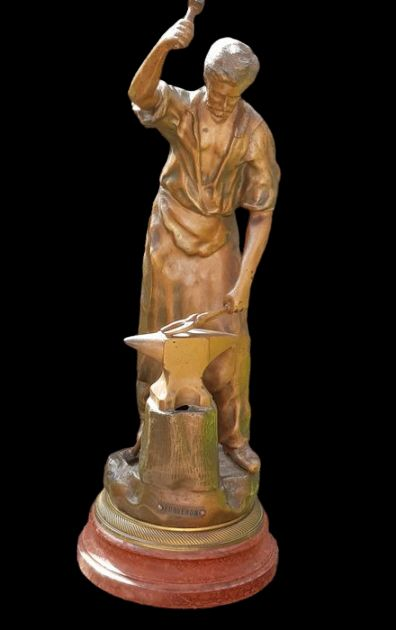 """""""Forgeron"""" - large statue of a Blacksmith with anvil - 46.5 cm (1)"""