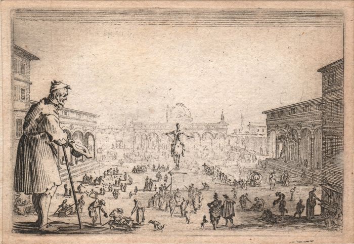 Jacques Callot ( 1592-1632 ) - The Piazza Annunziata in Florence - First state before the number