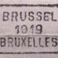 Belgium - Surcharge postage due stamp 5 centimes green with hand-rolled cancellation 'Brussel 1919 Bruxelles' in a complete sheet of one hundred [S]
