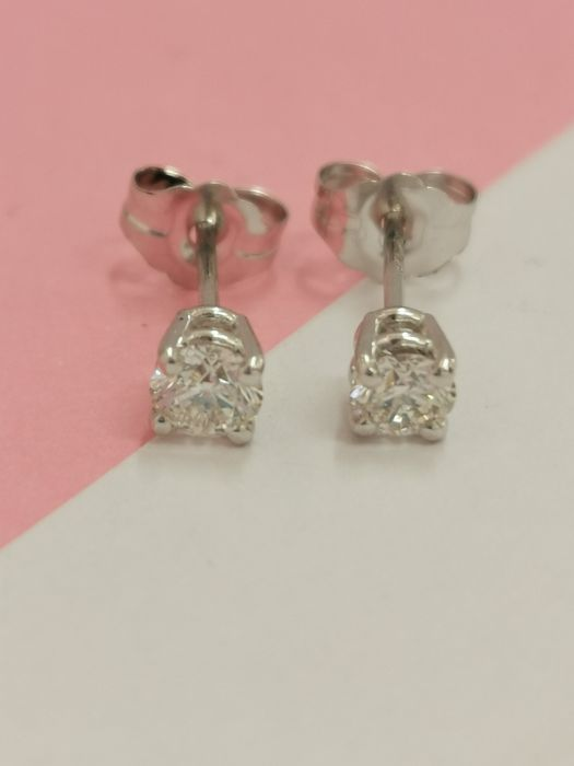 14 kt. White gold - Earrings - 0.50 ct Diamond - AIG no reserve