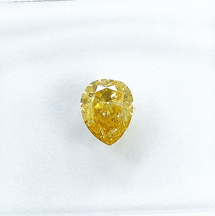 Diamond - 0.27 ct - Pear - Natural Fancy Orangy Yellow - I1 - NO RESERVE PRICE