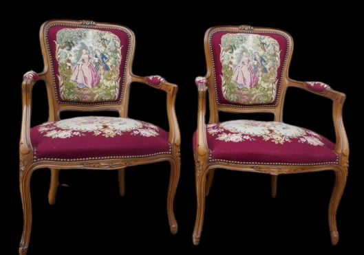 Chair, Pair of Armchairs with embroidery - Louis XVI Style