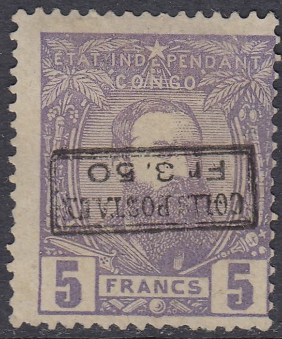 Belgian Congo 1889 - Leopold II in profile looking to the right - Colis postaux 3,50 on 5f violet INVERTED OVERPRINT - OBP / COB CP4-Cu1