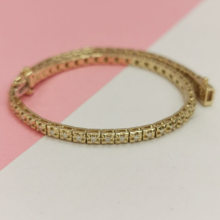 14 kt. Yellow gold - Bracelet - 0.75 ct Diamond - AIG no reserve