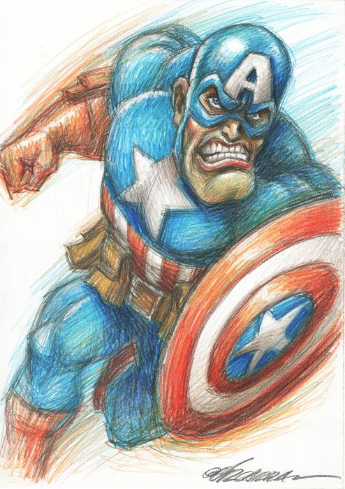 Captain America - Original drawing by Joan Vizcarra - Art original