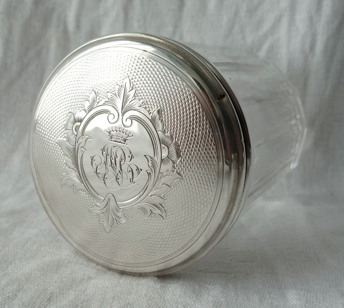Baccarat - silver-mounted cufflink box, Count's crown, circa 1860 - Crystal
