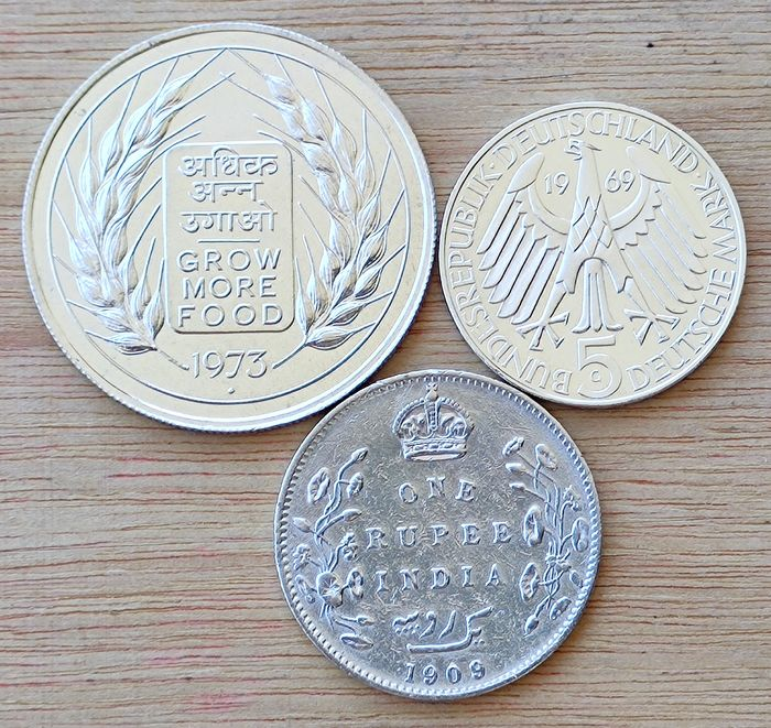 Several - India Ruppe 1909, India 10 Rupees 1973, Germany 5 Marks 1973 - Silver