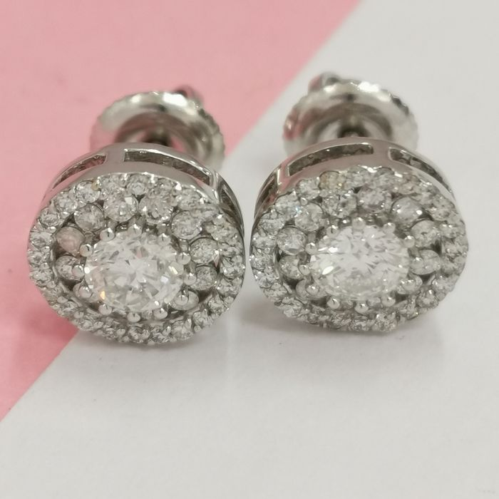 14 kt. White gold - Earrings - 1.25 ct Diamond - AIG no reserve
