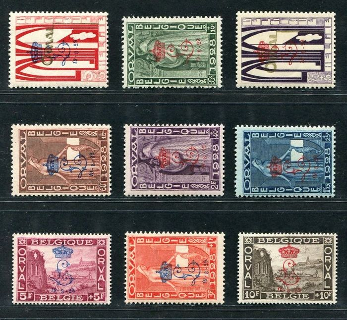 Belgium 1929 - First Orval with overprint 'crowned L' with a certificate by Kaiser - OBP / COB 272A/72K