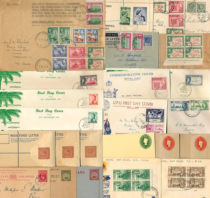 Fiji - Lot with 24 documents and postal stationery items