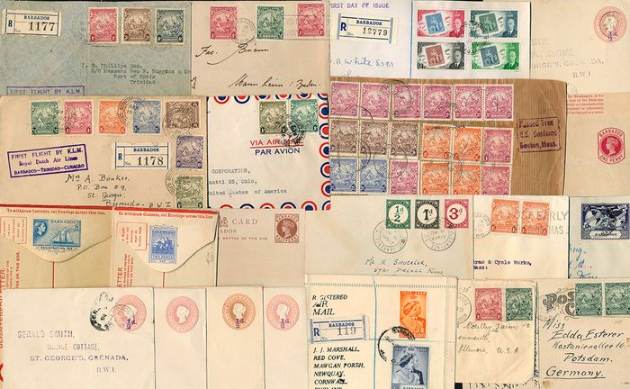 Barbados - Lot with 21 documents/fragments and postal stationery items - Michel