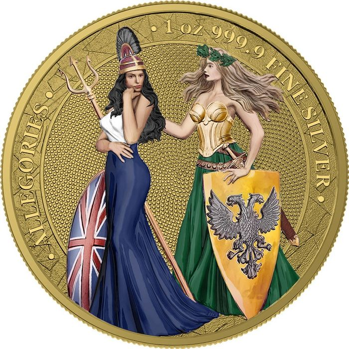 Germany - 5 Mark 2019 'Allegories - Britannia & Germania' type Gold and Colouring - with Box and Coa  - Gold, Silver