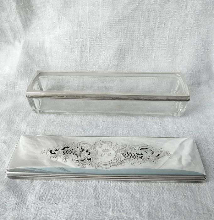 Baccarat - Silver mounted pencil box, Duke's crown !! c. 1860 - .950 silver, Crystal