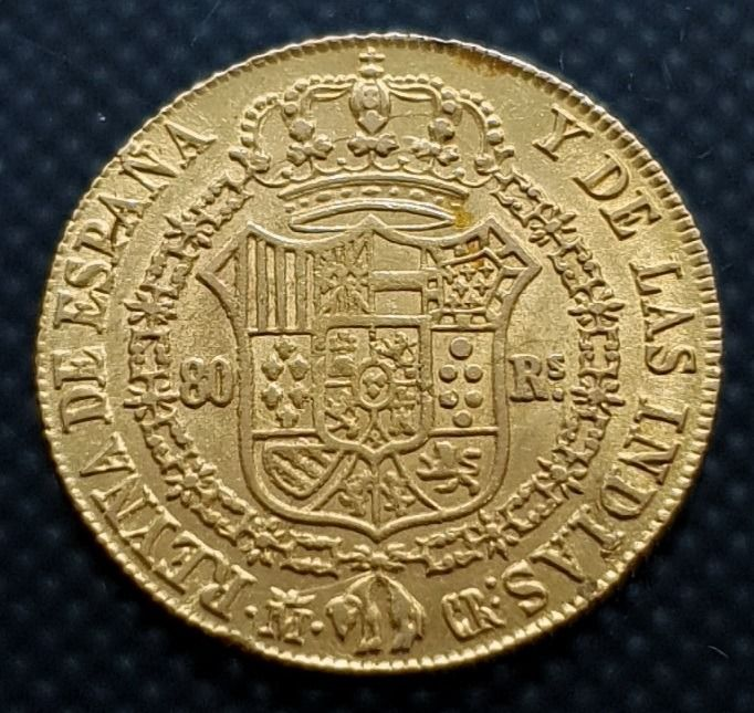 Spagna - 80 Reales 1835 - Isabel II - Oro