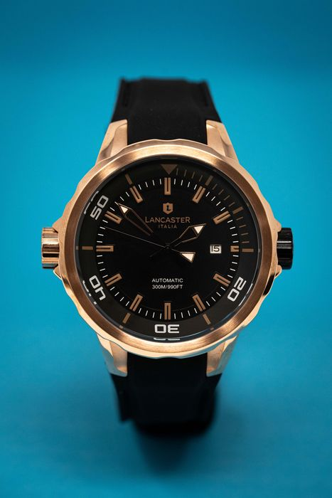 Lancaster Italy - Automatic Space Shuttle Collection 30ATM IP Rose Gold Black Silicone Strap - OLA0668S/RG/NR/NR - Heren - Brand New