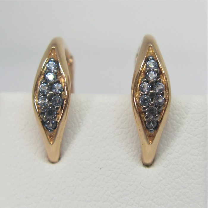 18 kt. Pink gold - Earrings - 0.32 ct Sapphire