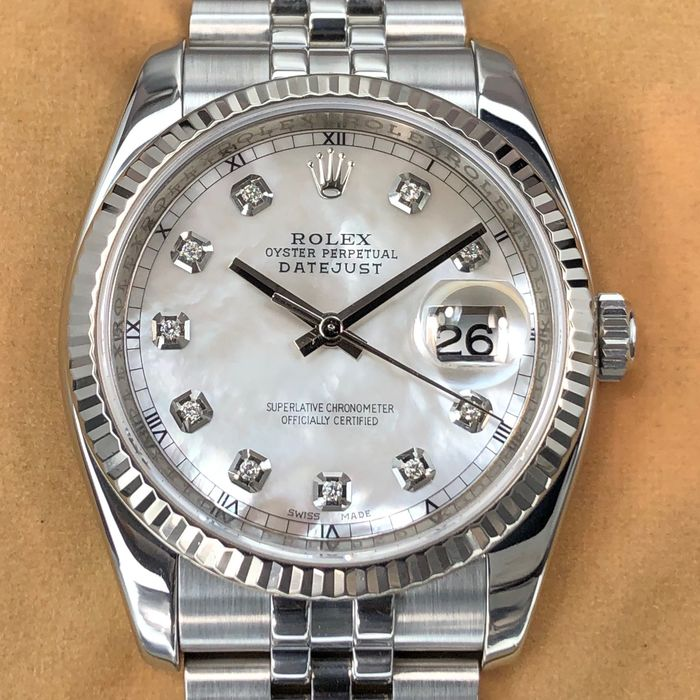 Rolex - Datejust, Mother of Pearl Dial +Box & White Dial - 116234 - Unisex - 2000-2010