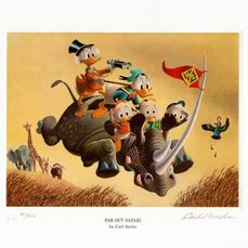Signed and numbered Carl Barks lithograph - Far Out Safari - EO - (1994)