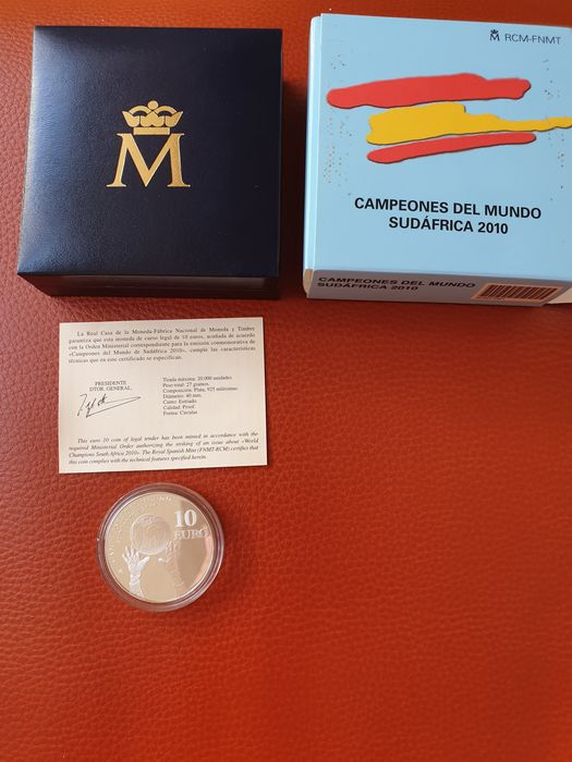 Spain - 10 Euro 2019, 999er Gold, 1x Germania, 1x Springbock, 1x 30 Jahre Mauerfall - Gold, Silver