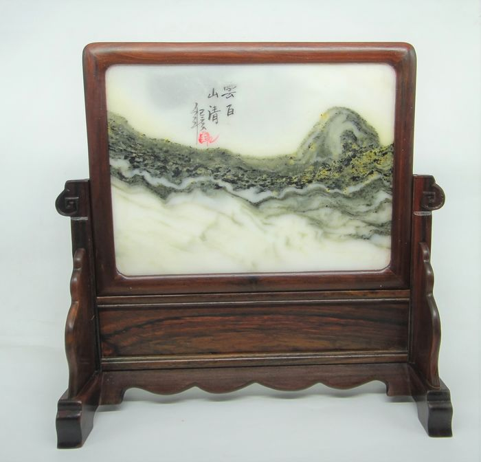 Tafelscherm - Hout, Marmer - Fine marble landscape table screen - China - Tweede helft 20e eeuw