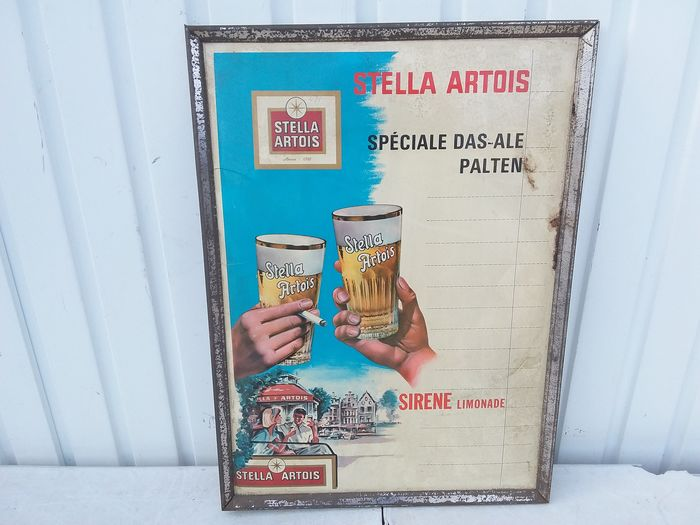 Old advertising board Stella artois. (1) - glass coid