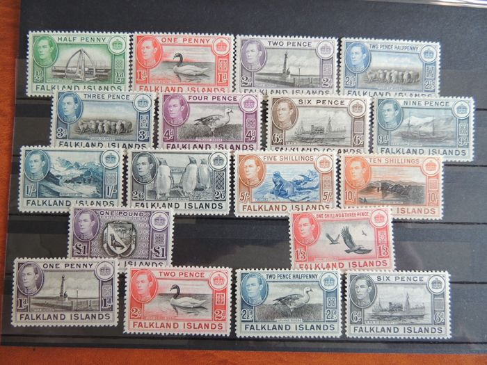 Falkland 1937/1949 - King George VI, complete fauna and landscapes series. - Yvert 78/89 + 90/92