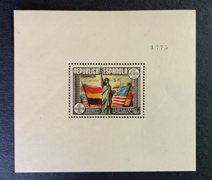 Spanien 1938 - USA Constitution Airmail miniature sheet with Comex certificate - Edifil 766
