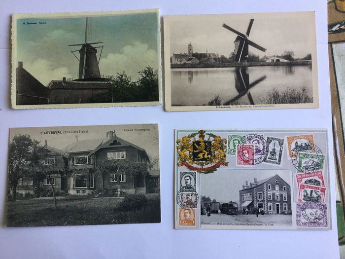 Belgium - Mills, flax cultivation, street views also small places - Postcards (Collection of 88) - 1903