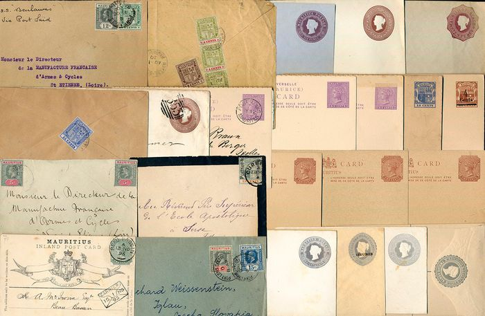 Mauritius - Lot with 23 old documents and postal stationery items - Michel