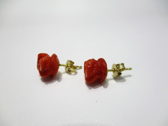 18 kt. Yellow gold, Red coral of the Mediterranean - Earrings