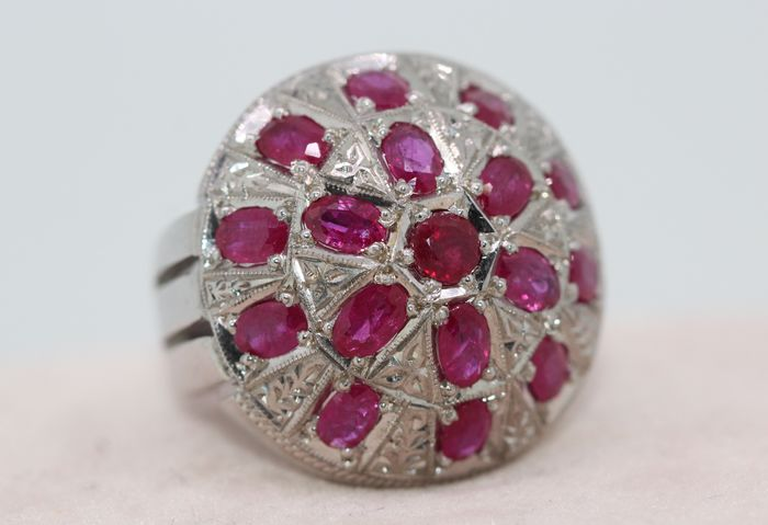 925 Silver - Ring - 8.00 ct Ruby
